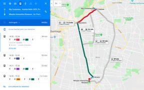 Opções de transporte público em Santiago no Google Maps