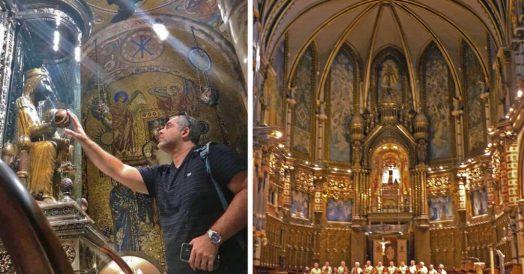 """La Moreneta"" e  o interior da Basílica de Montserrat"