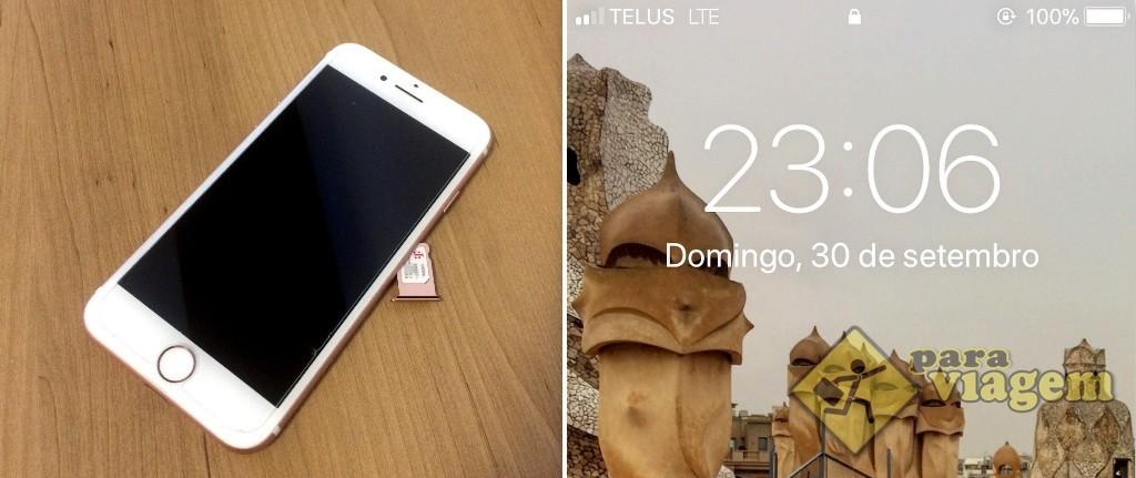 Após colocar o chip da EasySim4U no aparelho, o sinal logo entrou. No Canadá, a operadora que pegou no meu celular foi a TELUS.