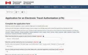 O preenchimento do formulário para adquirir o eTA é feito em inglês
