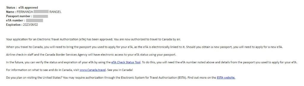 E-mail com o eTA aprovado.