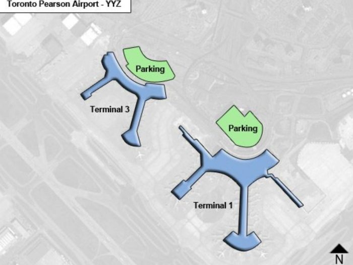 O Aeroporto Internacional Toronto Pearson tem 2 terminais
