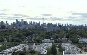 Da torre da Casa Loma dá pra ver o skyline de Toronto