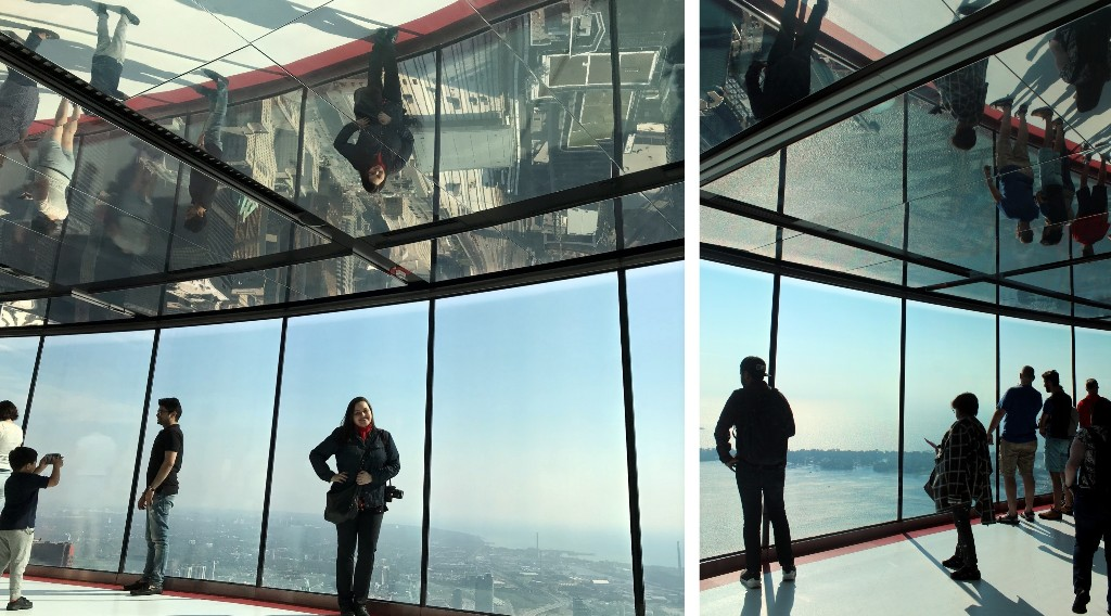 O teto espelhado do LookOut Level reflete a cidade lá embaixo