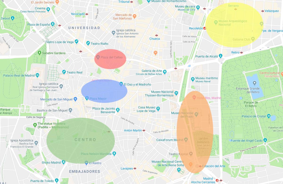 Mapa de Madri por regiões