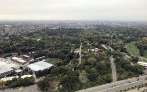 Jardim Botânico de Montreal (visto da torre do Pq. Olímpico)