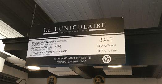 Valor do ticket do Funicular de Quebec (preço Set/18)