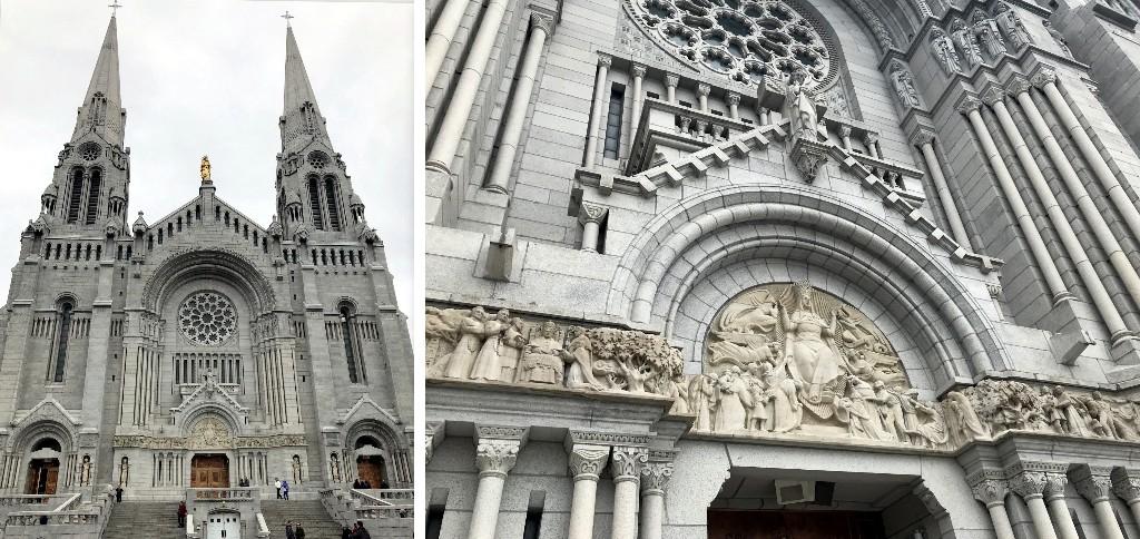 Detalhes da fachada da Basílica de Sainte-Anne-de-Beaupré