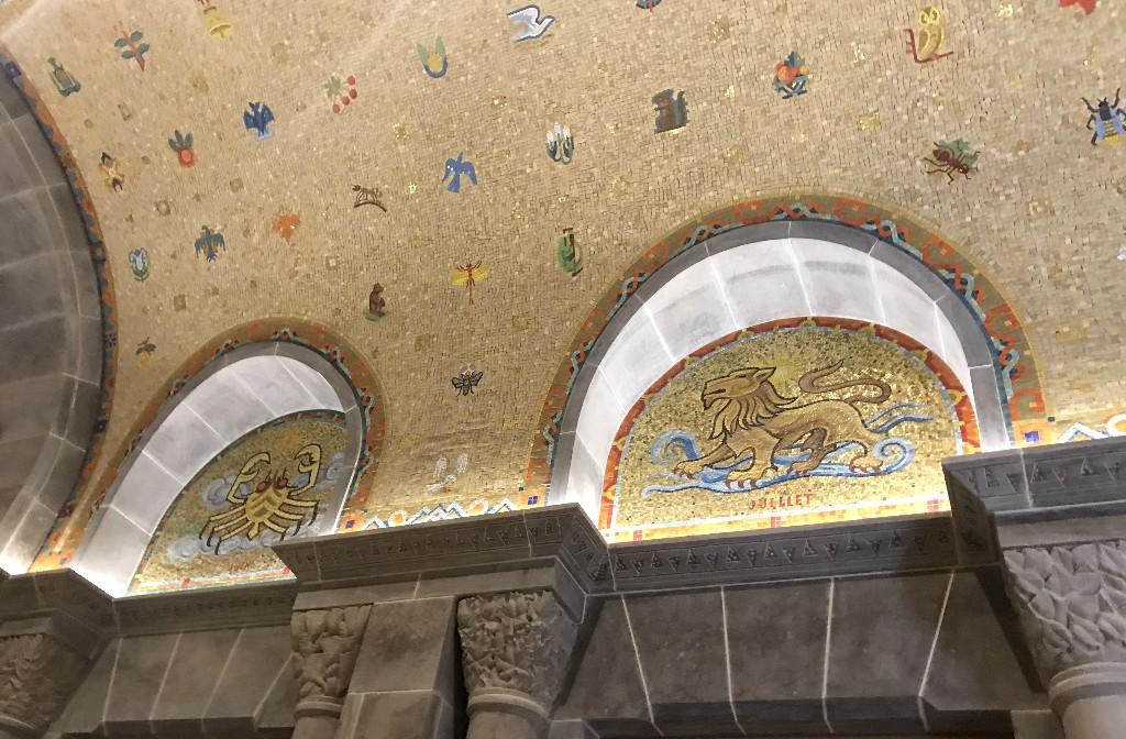Detalhes do mosaico do vestíbulo