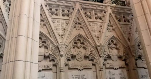 Detalhes góticos da Memorial Chamber