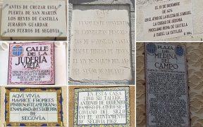 Placas contando acontecimentos históricos em Segóvia