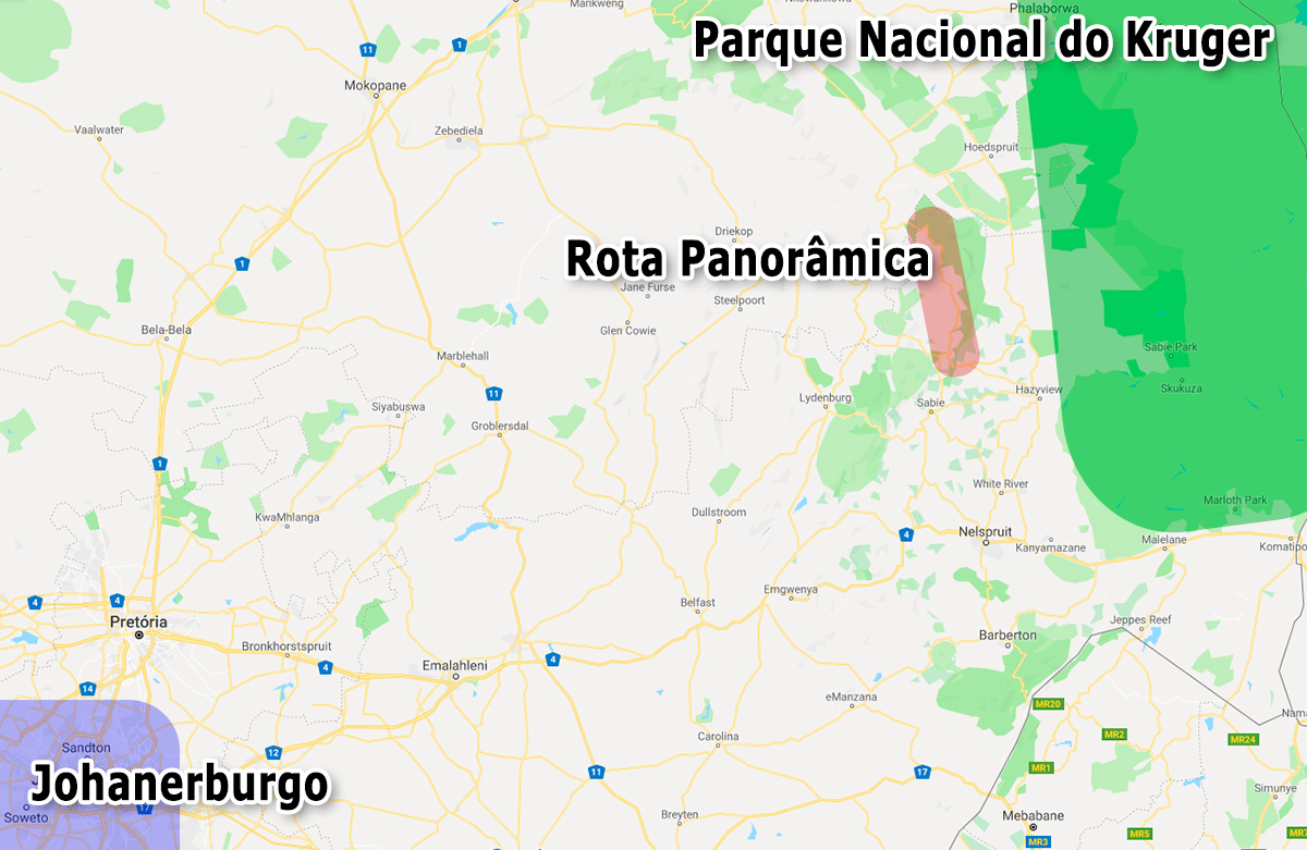 Localização da Rota Panorâmica no mapa da África do Sul