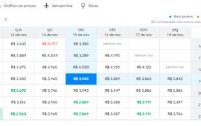 Calendário do Google Flights