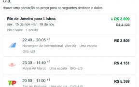 E-mail de Alerta de Preço do Google Flights