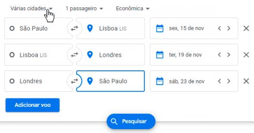 Busca por Múltiplos Destinos no Google Flights