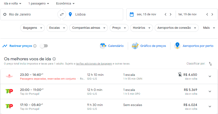 Resultado da Busca do Google Flights