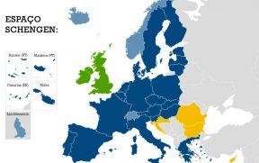 Espaço Schengen atual (área azul claro e escuro do mapa)