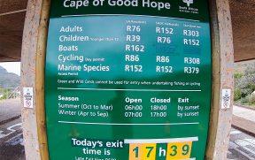 Preços e Horários do Cabo da Boa Esperança