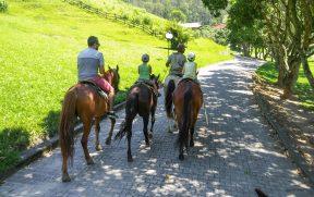 Passeio de cavalo com crianças pequenas