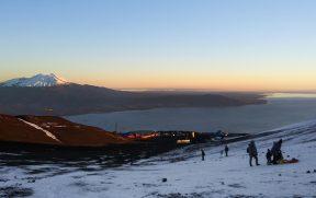 Lago Llanquihue e vulcão Calbuco vistos do Osorno