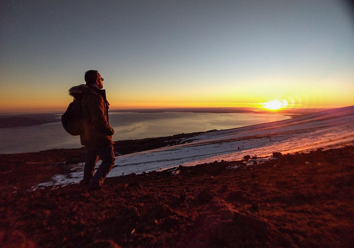 Pôr do Sol no vulcão Osorno
